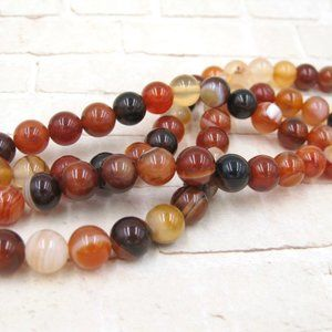 Orange Agate Beads Jewelry Making Supplies Crafts